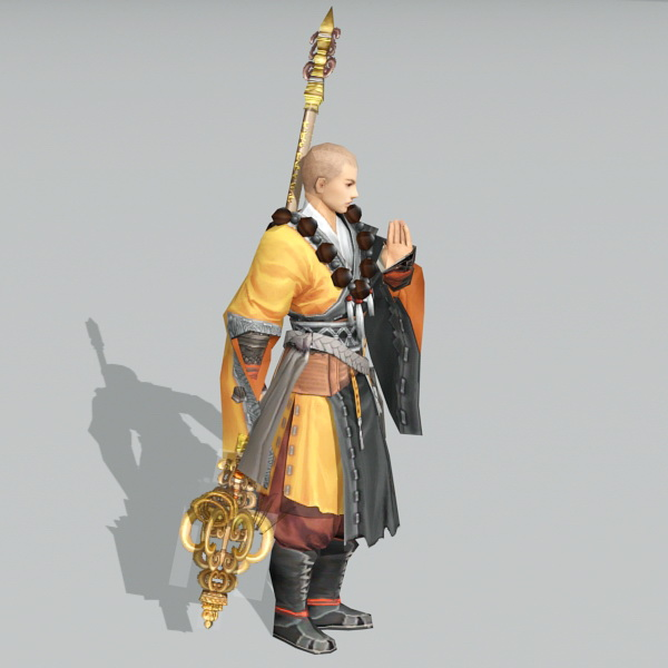 Chinese Warrior Monk 3d rendering