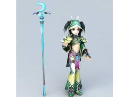 Anime Mage Girl 3d preview