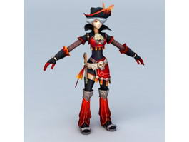 Anime Pirate Girl 3d preview