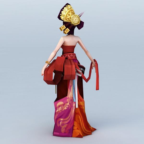 Chinese Anime Girl Dancer 3d rendering