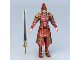 Ancient Chinese General and Sword 3d preview