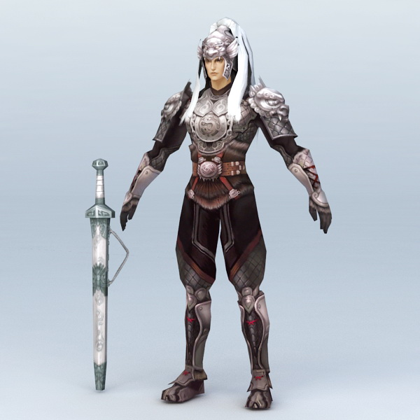 White Hair Male Warrior 3d rendering
