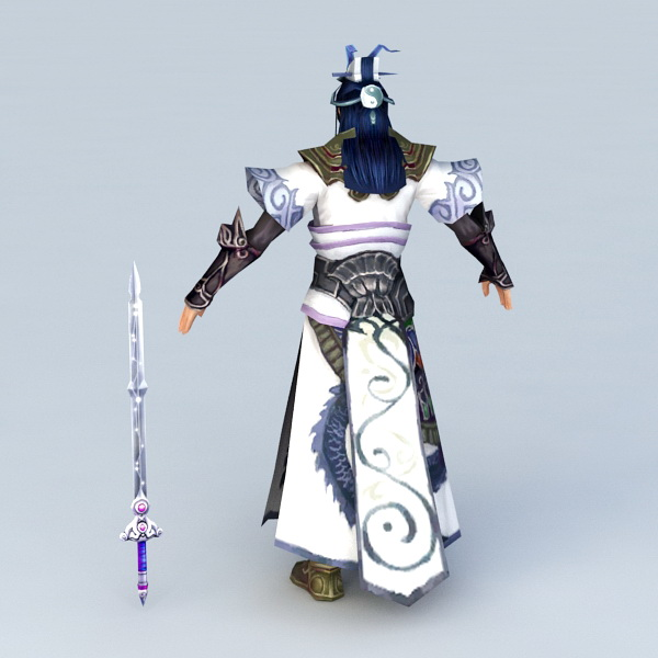 Chinese Swordsman Concept Character 3d rendering