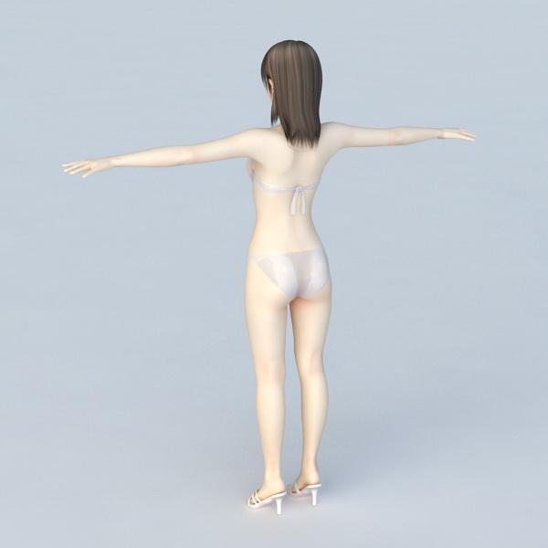 Bikini Woman T-Pose 3d rendering