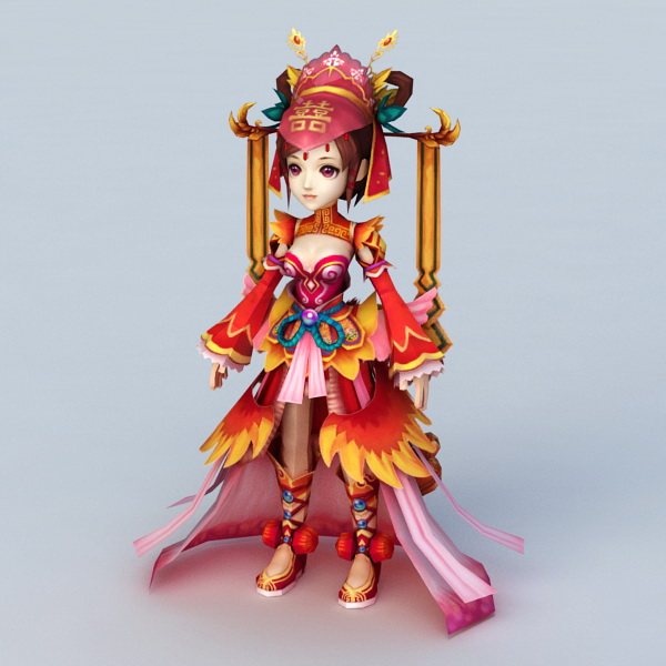 Anime Chinese Bride 3d rendering