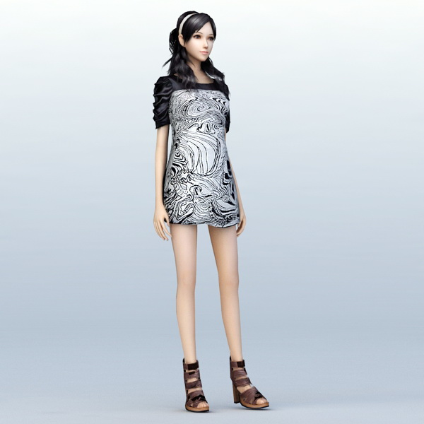 Little Fashion Girl 3d model 3ds Max files free download