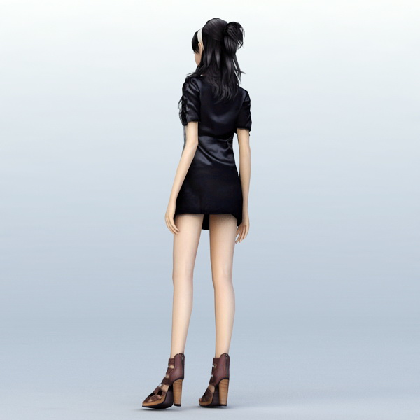Young sexual girl standing rigged 3d model 3ds max,Maya