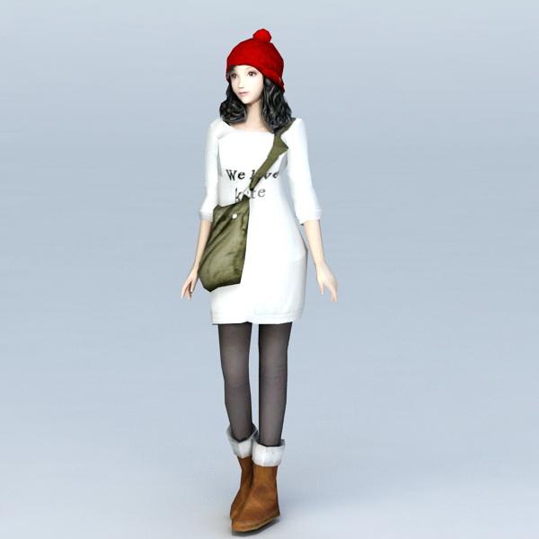High School Preppy Girl 3d rendering