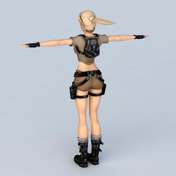 Lara Croft Tomb Raider Game 3d rendering