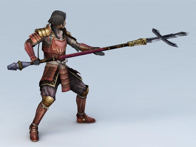 Japanese Samurai Warrior 3d rendering