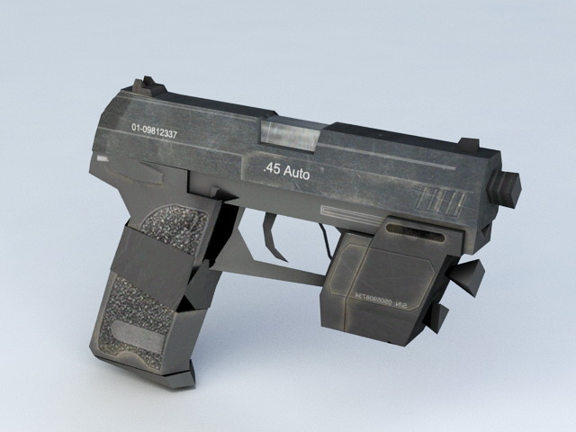 HK USP .45 Tactical 3d rendering