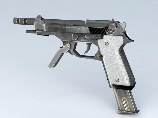 Machine Pistol 3d rendering