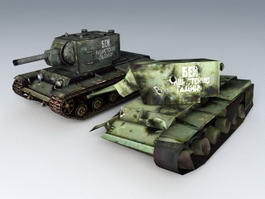 KV-2 Tanks and Destroyed 3d preview