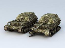 Elefant Tank Destroyer and Damaged 3d model preview