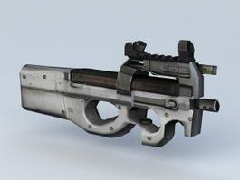 FN P90 Submachine Gun 3d model preview