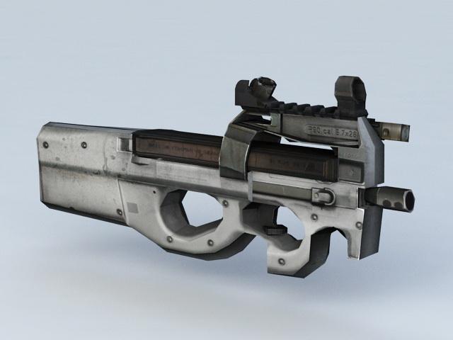 FN P90 Submachine Gun 3d rendering