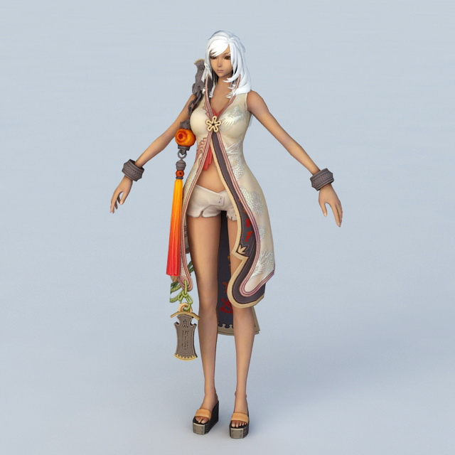Dark Sorceress Female Character 3d rendering