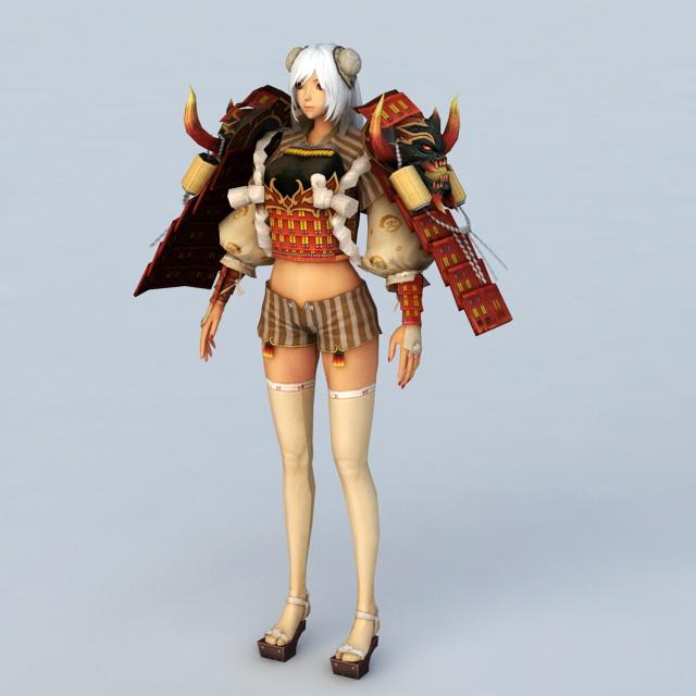 Female Samurai Character 3d rendering