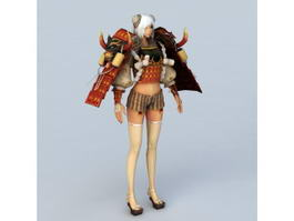 Female Samurai Character 3d preview