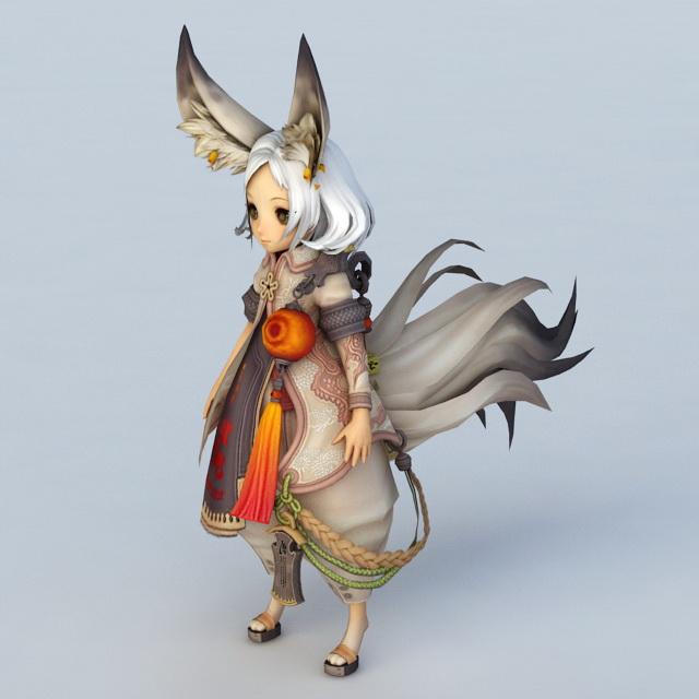 Cute Fox Girl 3d Model 3ds Max Files Free Download