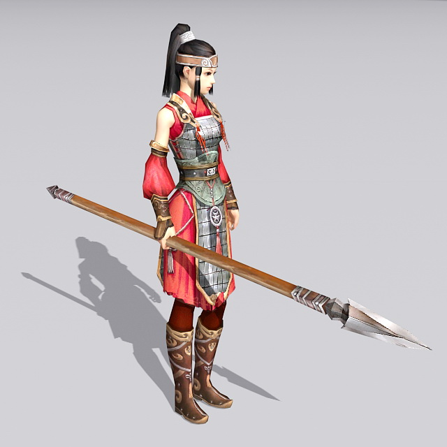 Ancient Chinese Soldier Woman 3d rendering