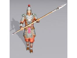 Ancient Chinese Soldier Spearmen 3d preview