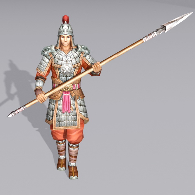 Ancient Chinese Soldier Spearmen 3d Model 3ds Max Files