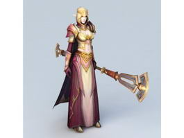 High Elf Female Priest 3d preview