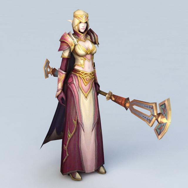 High Elf Female Priest 3d Model Cadnav