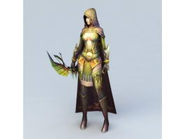 Hooded Female Archer 3d preview
