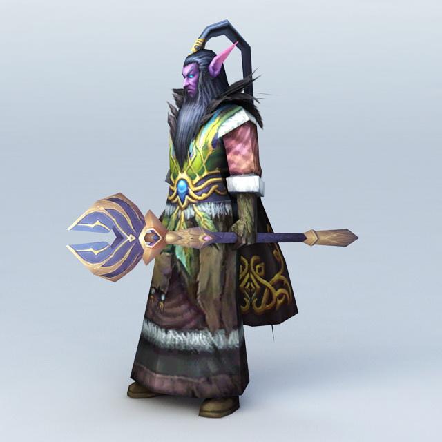 Male Night Elf Druid 3d rendering