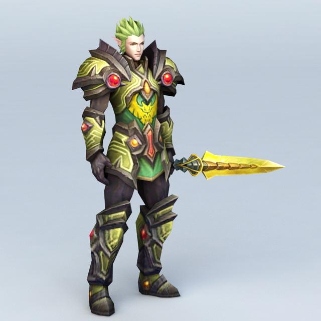High Elf Guard Character 3d rendering