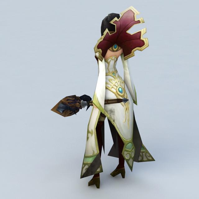 Human Female Priest 3d rendering