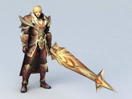 Anime Male Warrior with Sword 3d preview