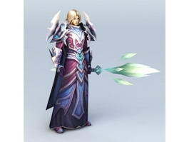 Young Male Wizard with Staff 3d preview