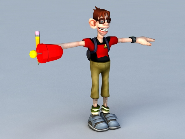 Cartoon School Student 3d rendering