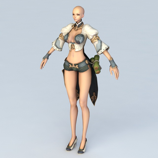 Female Monk Pathfinder 3d rendering