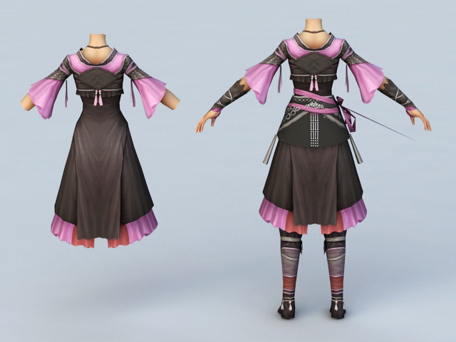 Ancient Chinese Women Clothing 3d rendering