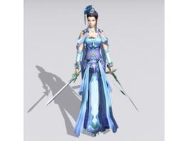 Female Swordswoman Figure 3d preview