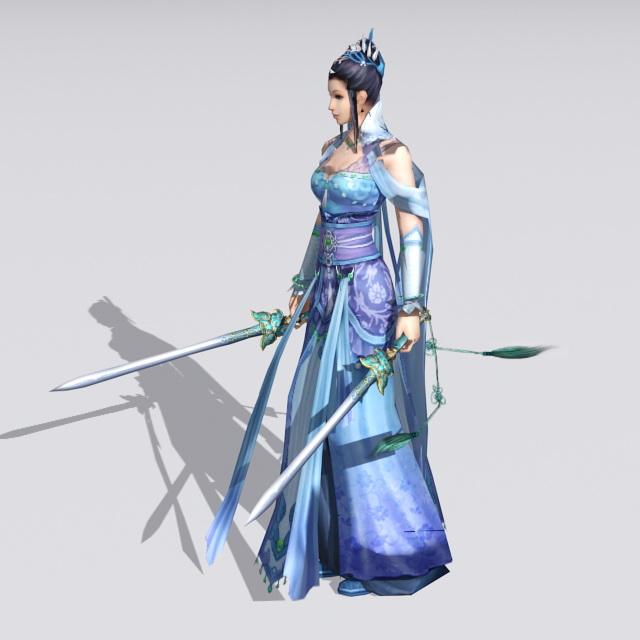 Female Swordswoman Figure 3d rendering