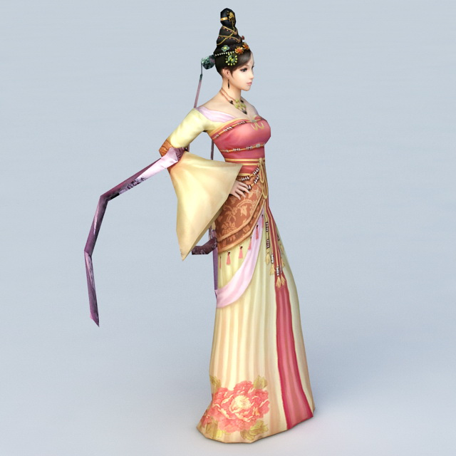 Ancient Asian Dancer 3d rendering