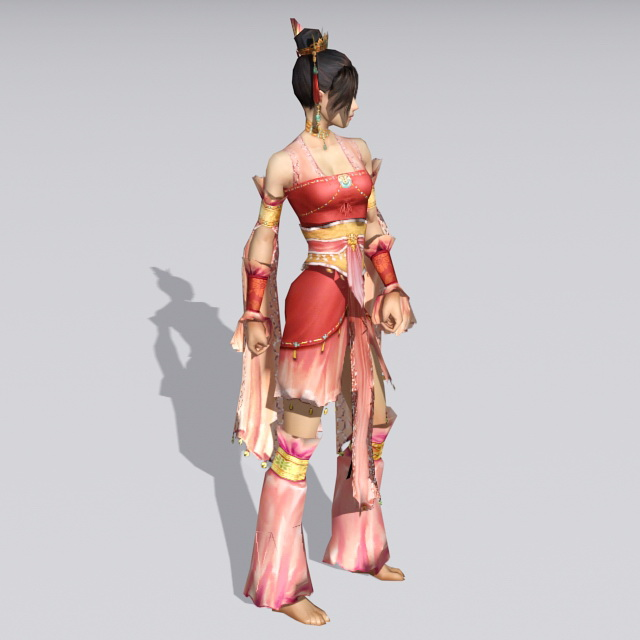 Traditional Chinese Folk Dancer 3d rendering