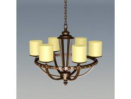 Bronze 6-Light Chandelier 3d model preview