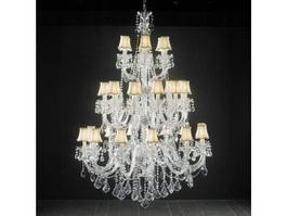 3 Tier Crystal Large Chandelier 3d preview