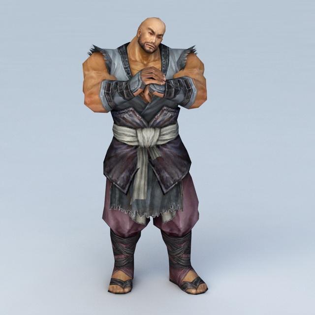 Male Warrior Monk 3d rendering