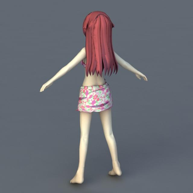 Anime Girl Swimsuit 3d rendering