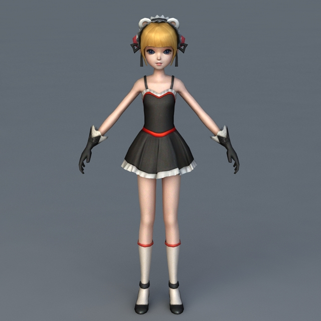 Anime Girl Character Rigged Animated 3d rendering
