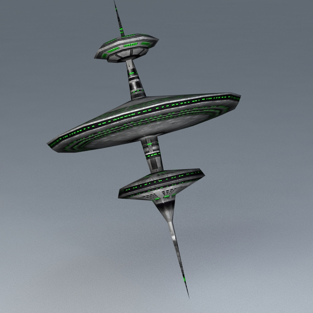 Sci-Fi Space Station 3d rendering