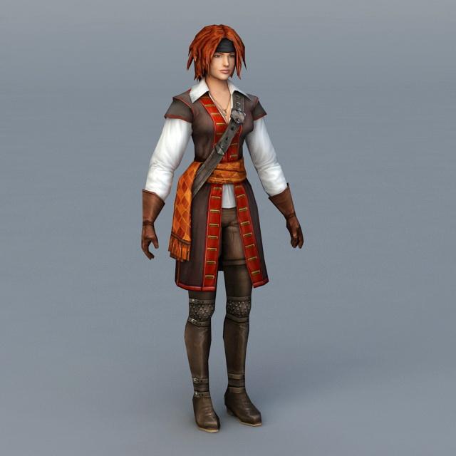 Pirate Woman Warrior 3d rendering
