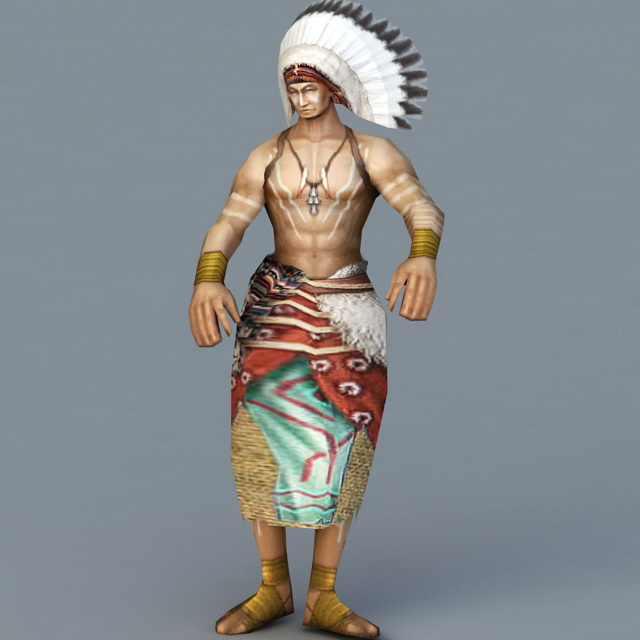 Native American Indian Chief 3d rendering